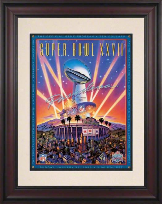 Framed 10.5 X 14 Super Bowl Xxvii Program Print  Particulars: 1993, Cowboys Vs Bills