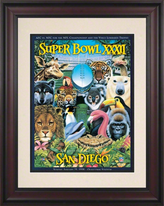 Framed 10.5 X 14 Super Bowl Xxxii Program Print  Details: 1998, Broncos Vs Packers