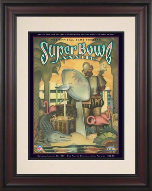 Framed 10.5 X 14 Super Bowl Xxxiii Program Print  Detailq: 1999, Broncos Vs Falcons