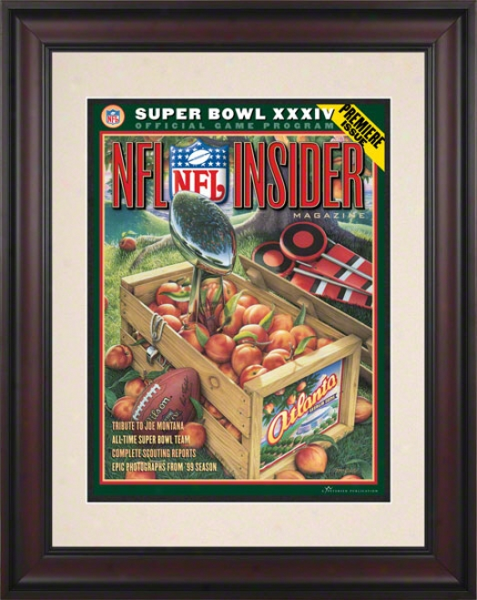 Framed 10.5 X 14 Super Bowl Xxxiv Program Print  Deails: 2000, Rams Vs Titans