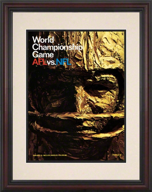 Framed 8.5 X 11 Super Bowl I Program Print  Details: 1967, Packers Vs Chifes