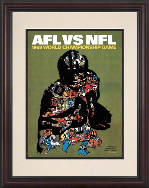 Framed 8.5 X 11 Super Bowl Ii Program Print  Details: 1968, Packers Vs Raiders