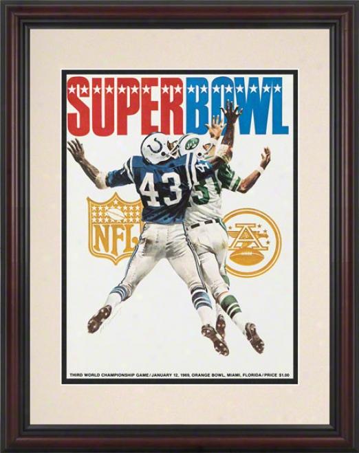 Framed 8.5 X 11 Suprr Bosl Iii Program Print  Details: 1969, Jets Vs Colts