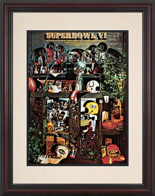 Framed 8.5 X 11 Super Bowl Vi Program Print  Details: 1972, Cowboys Vs Dolphins