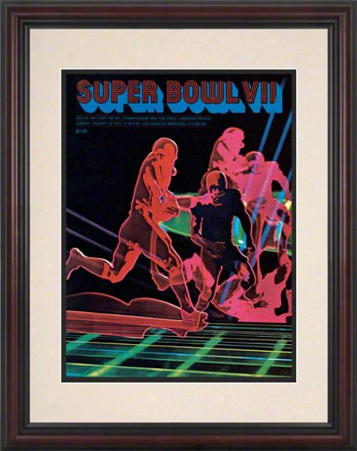 Framed 8.5 X 11 Super Bowl Vii Program Print  Details: 1973, Dolphins Vs Redskins