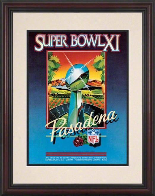 Framed 8.5 X 11 Super Bowl Xi Program Print  Details: 1977, Raiders Vs Vikings