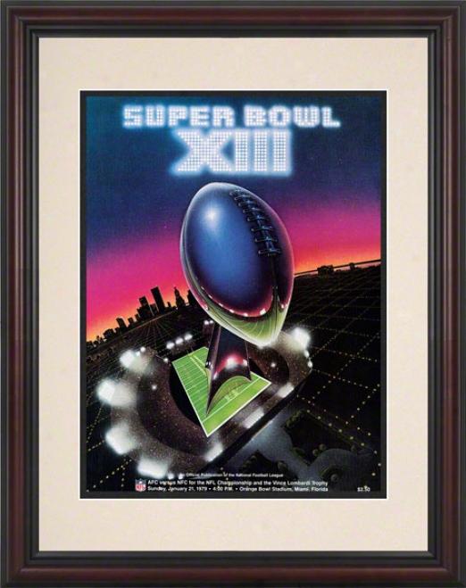 Framed 8.5 X 11 Super Bowl Xiii Program Print  Details: 1979, Steelers Vs Cowboys