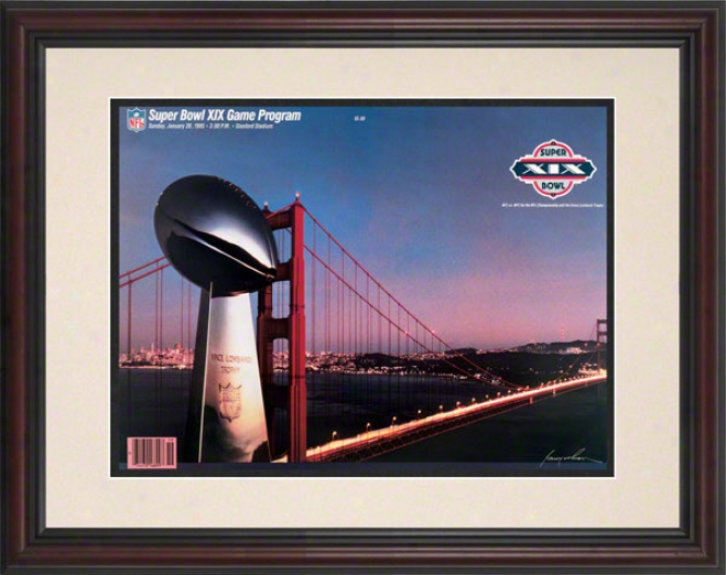 Framed 8.5 X 11 Super Goblet Xix Program Print  Details: 1985, 49ers Vs Dolphins