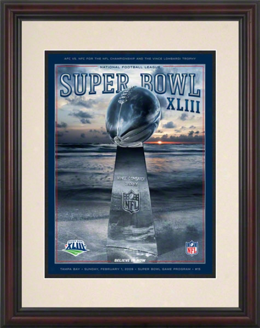 Framed 8.5 X 11 Super Bowl Xliii Program Print  Details: 2009, Steelers Vs Cardinals