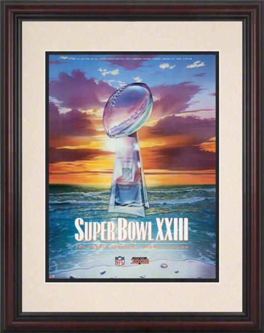 Framed 8.5 X 11 Super Bowl Xxiii Program Print  Details: 1989, 49ers Vs Bengals