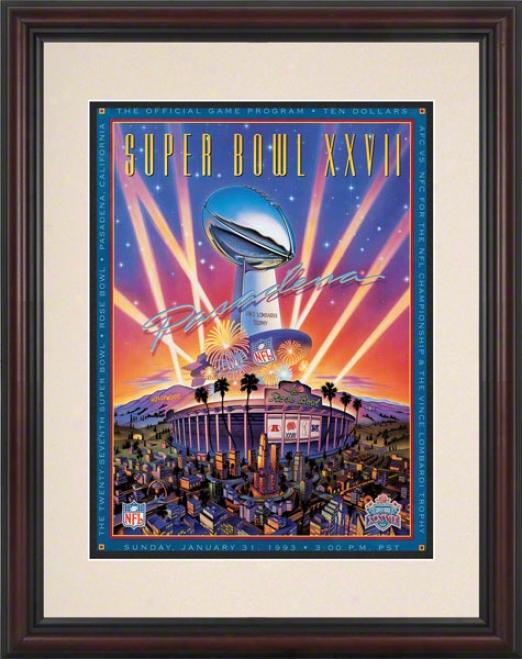 Framed 8.5 X 11 Super Bowl Xxvii Program Print  Details: 1993, Cowboys Vs Bills