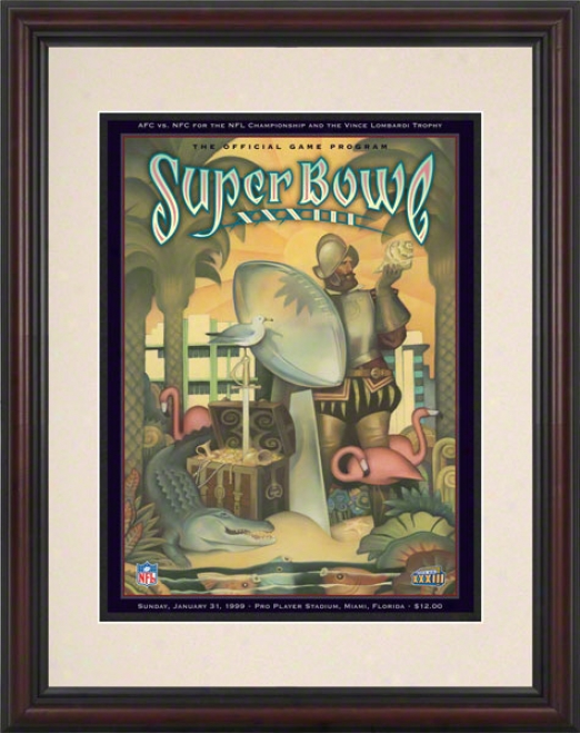 Framed 8.5 X 11 Super Bowl Xxxiii Program Print  Details: 1999, Broncos Vs Falcons