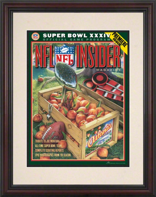 Framed 8.5 X 11 Super Bowl Xxxiv Program Print  Details: 2000, Rams Vs Titans