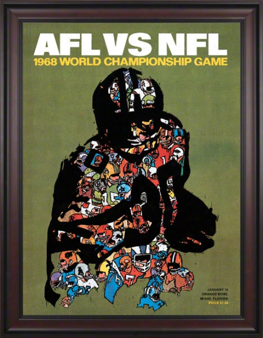 Framed Canvas 36 X 48 Super Bowl Ii Program Print  Details: 1968, Packers Vs Raiders