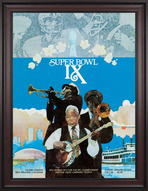 Framed Canvas 36 X 48 Super Bowl Ix Program Print  Details: 1975, Steelers Vs Vikings
