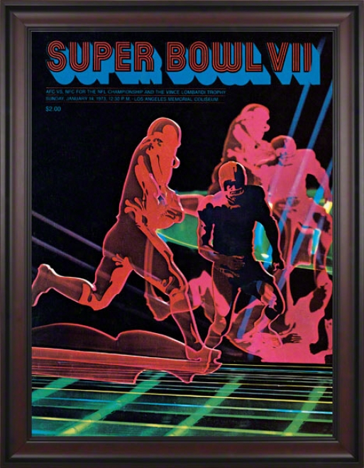 Framed Canvas 36 X 48 Super Bowl Vii Program Print  Details: 1973, Dolphins Vs Redskins