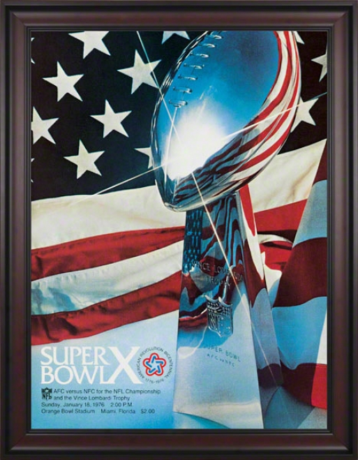 Framed Canvas 36 X 48 Super Bowl X Program Print  Details: 176, Steelers Vs Cowboys