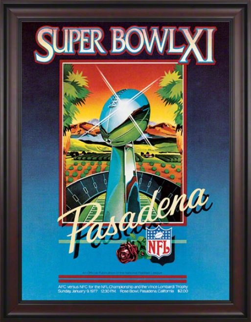 Framed Canvas 36 X 48 Super Bowl Xi Program Print  Details: 1977, Raiders Vs Vikings