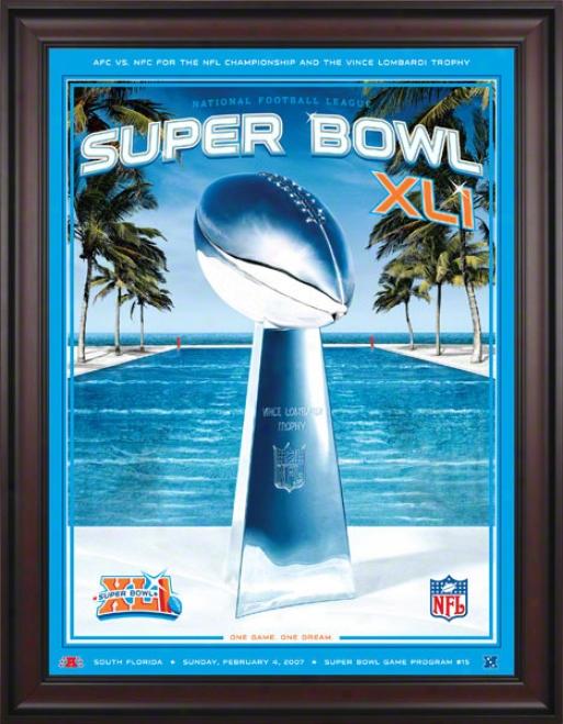 Framed Canvas 36 X 48 Super Bowl Xli Program Print  Details: 2007, Colts Vs Bears