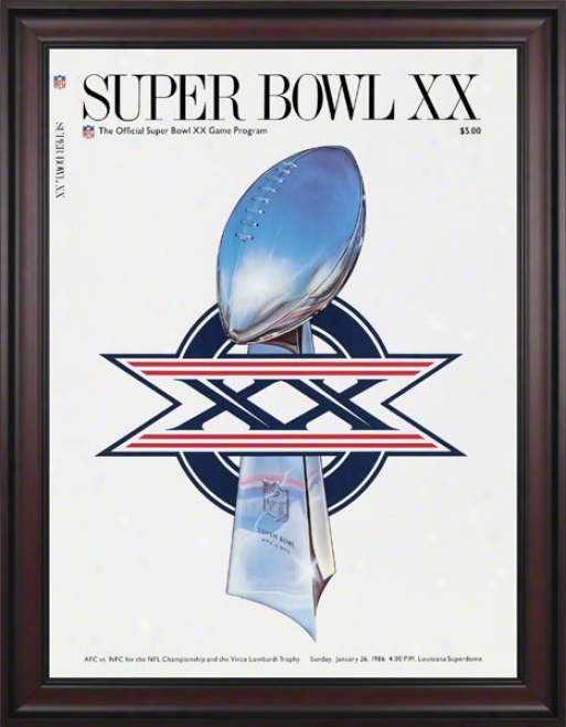 Framed Canvas 36 X 48 Super Bowl Xx Program Print  Details: 1986, Bears Vs Patriots