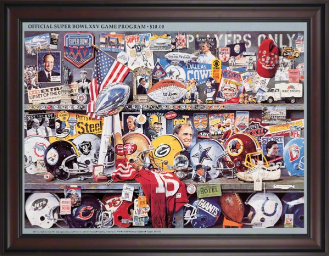Framed Canvas 36 X 48 Super Bowl Xxv Program Print  Details: 1991, Giants Vs Bills