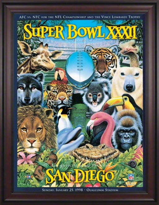 Framed Canvs 36 X 48 Super Bowl Xxxii Program Print  Details: 1998, Broncos Vs Packers