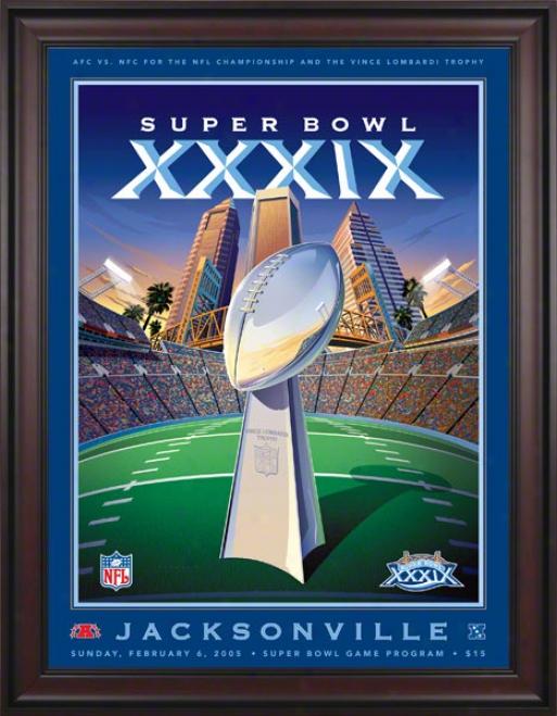 Framed Canvas 36 X 48 Super Goblet Xxxix Program Print  Details: 2005, Patriots Vs Eagles
