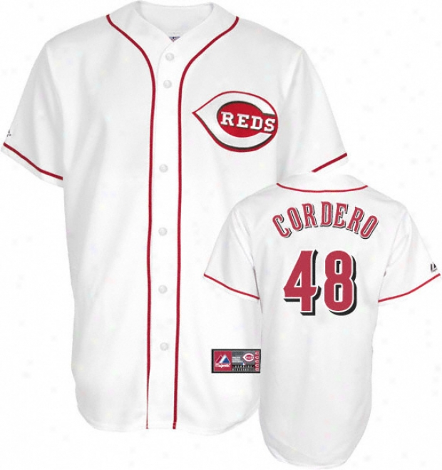 Francisco Cordero Jersey: Adult Majestic Home White Replica #48 Cincinnati Reds Jeersey