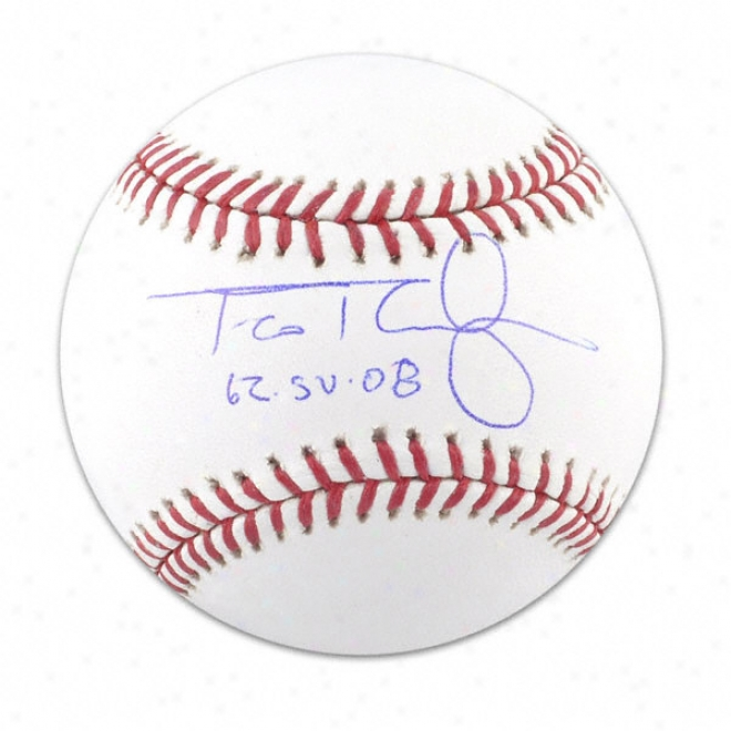 Francisco Rodriguez New York Mets Autographed Baseball W/ Inscriptuon &quot62 Saves/08&quot