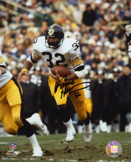 Franco Harris Autographed 8x10 Phoyograph  Details: Pittsburgh Steelers, Acion
