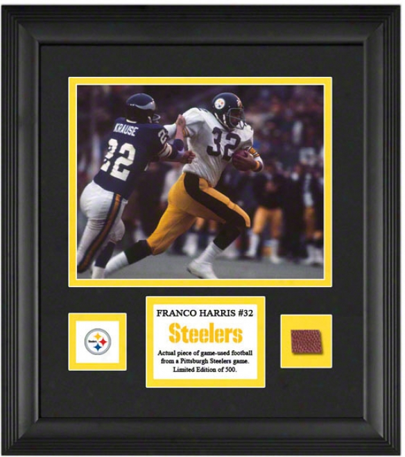 Franxo Harris Framed 8x10 Photograph  Details: Pittsburgh Steelers, In the opinion of Game Used Football Piece And Descriptive Plate
