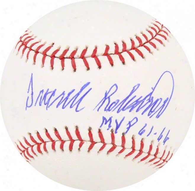 Open Robinson Autographed Baseball  Details: Cincinnati Reds, With &quot61 & 66 Mvp&quot Inscription