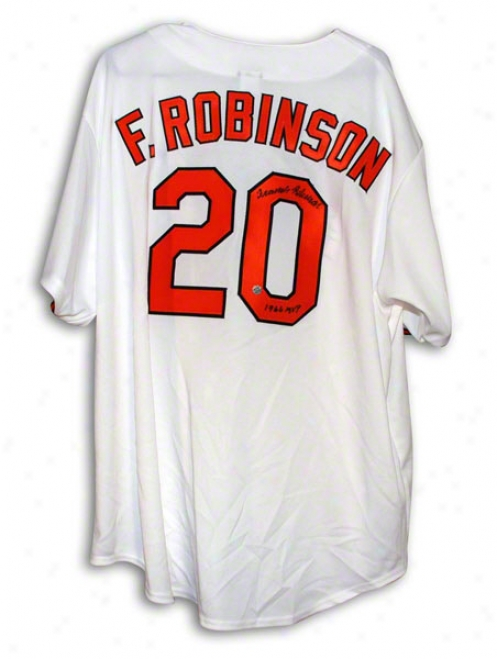 Frank Robinson Baltimore Orioles Autographed White Majestic Throwback Jersey Inscribed 1966 Mvp