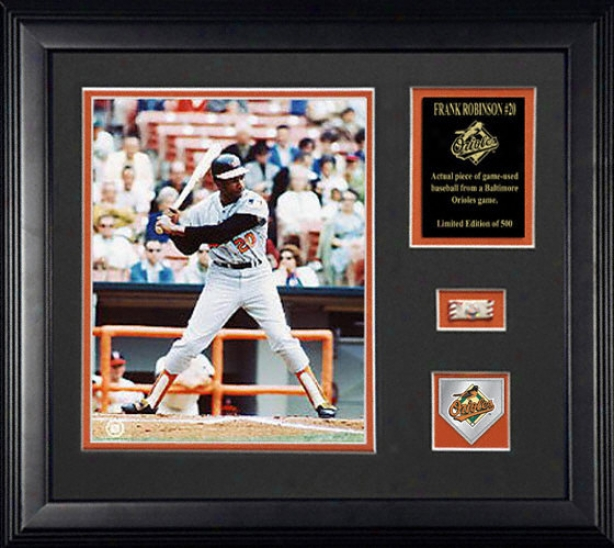 Frank Robinson Baltimore Orioles Framed Photograph With Team Medallion, Descriprive Plate And Game Used Baseball Piece
