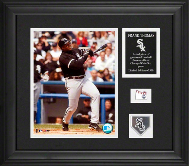 Frank Thomas Framed Photograph  Details: Chicago White Sox, Game Used Baseball, Medallion, Plate, 8x10