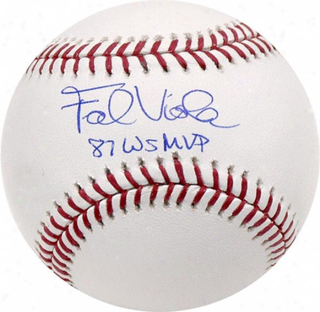 Frank Viola Autographed Baseball  Detaips: 1987 World Series Mfp Inscription