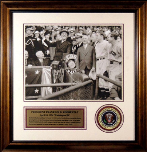 Franklin Delano Roosevelt Framed 16x20 Photograph Attending Presidential Patch
