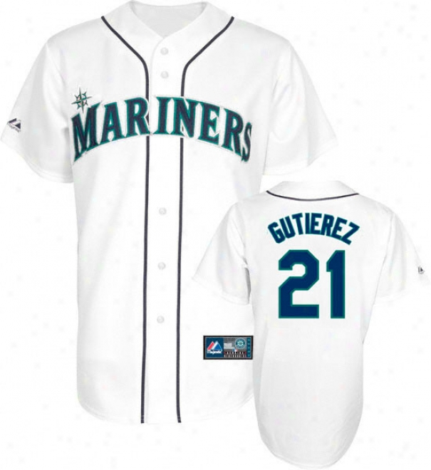 Frznklin Gutierrez Jersey: Adult Majestic Home White Replica #21 Seattle Mariners Jersey