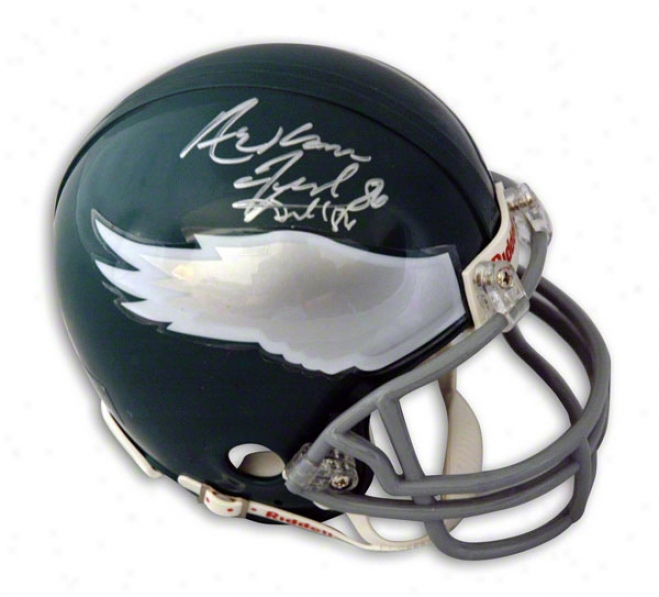 Fred Barnett Phioadelphia Eagles Autographed Mini Helmet Signed Arkansas Fred Barnett