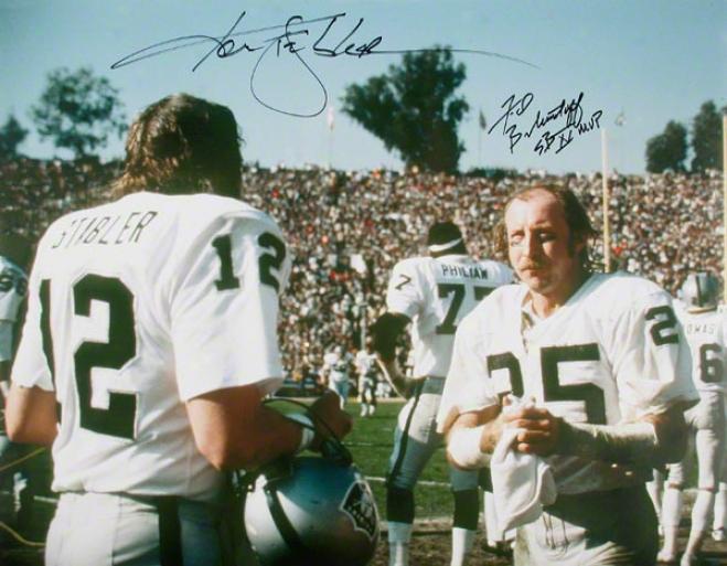 Fred Biletnikoff And Ken Stz6ler Autographed Photogfaph  Detaios Oakland Raiders, 16x20