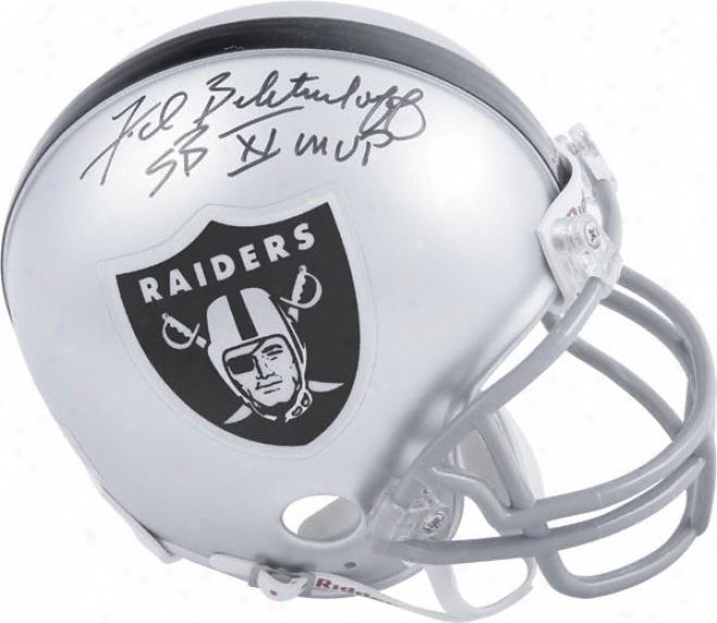 Fred Biletnikoff Oakland Raiders Autographed Mini Helmet Attending Sb Xi Mvp Inscription