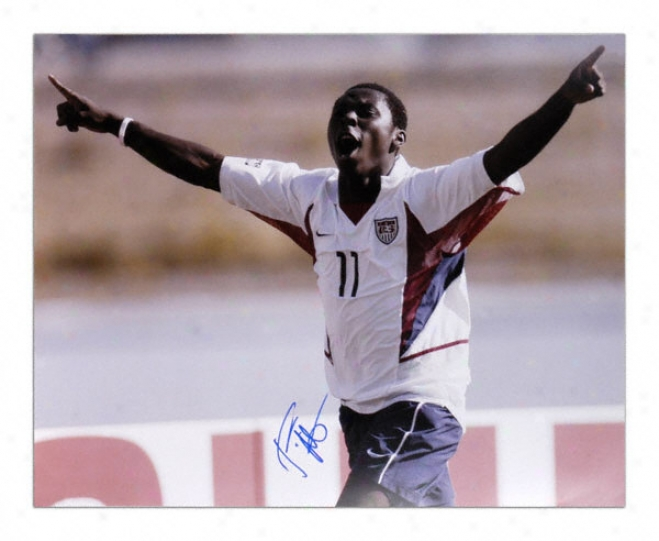 Freddie Adu - Us Team Celebration - Autographed 16x20 Photograph