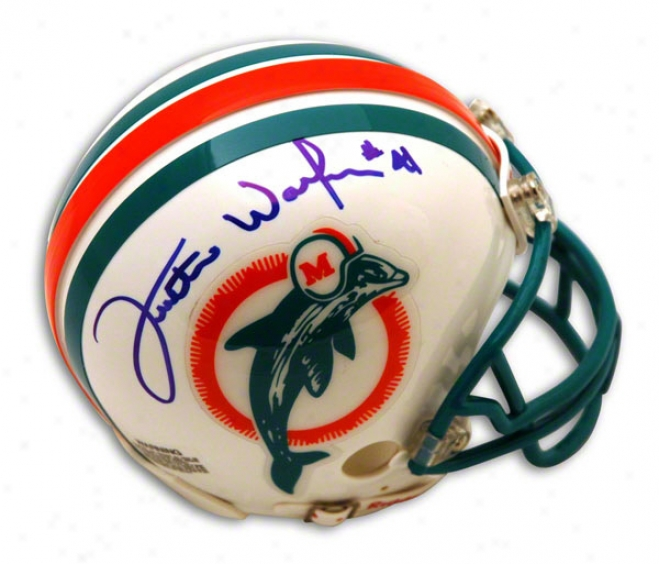 Fulton Walker Autographed Miami Dolphins Throback Mini Helmet