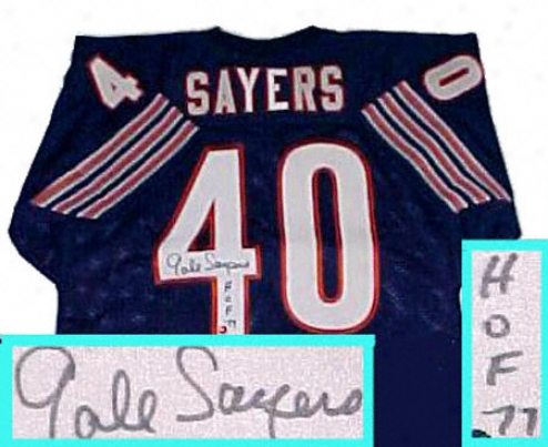 Gale Sayers Chifago Bears Autographed Dismal Throwback Jersey Woth Hof 77 Inscription