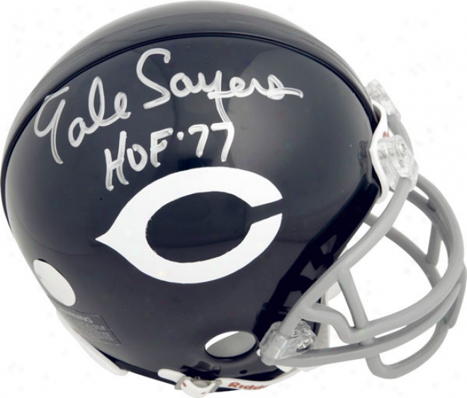 Gale Sayers Chicago Bears Autographed Throwback Mini Helmet With Hof Inscription