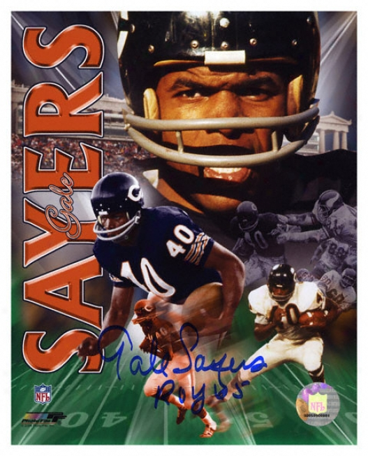 Gale Sayers Chicago Bears - Collage - Autographed 8x10 Photograph With 1965 Roy Inscription