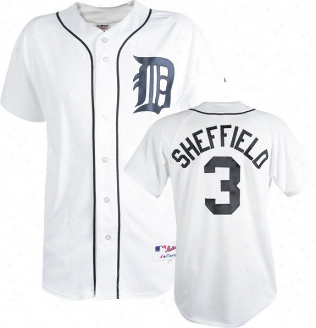 Gary Sheffield White Majestic Mlb Home Replica Detroir Tigers Jersey