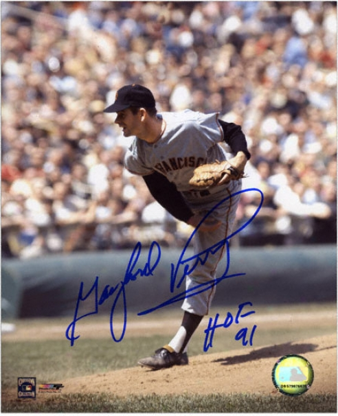 Gaylord Perry San Francisco Giants - Releasing Ball - Autographed 8x10 Photograph With Hof 1991 Inscriptkon
