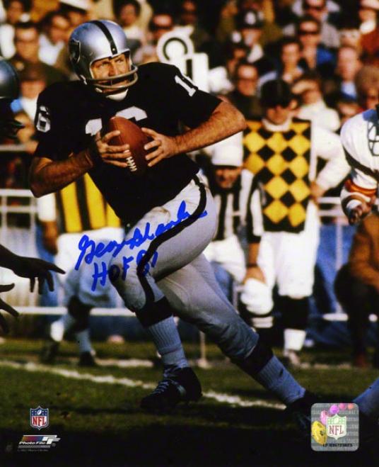 George Blanda Autographed 8x10 Photograph  Details: Oakland Raiders, With &quothof 81&quot Inscription