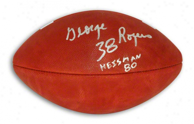 George Rogers Autographed Official Ncaa College Football Inscribed &quotheisman 80&quot